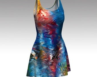 Abstract Dress, Blue Dress, Colorful Dress, Art Dress, Painting Dress, Picasso Dress, Flare Dress, Skater Dress, Bodycon Dress, Fitted Dress