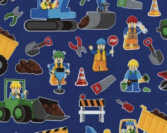 Timeless Treasures Construction Workers Cotton Fabric - By the Yard