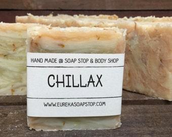 Handmade All Natural Hot Process Chillax Lavender Lemongrass Soap - One Bar