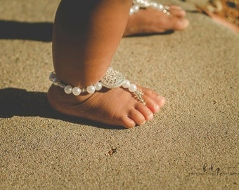 Mommy and Me Barefoot Sandals- Beaded Anklet- Slave Anklet- Matching Jewelry