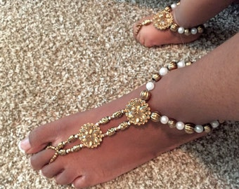Mommy and Me Barefoot Sandals- Slave Anklet- Ankle Jewelry- Foot Jewelry