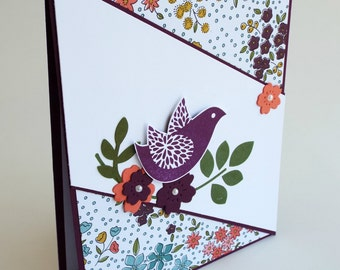 Handmade bird and flower any occasion card, blank card, diagonal design, bird punch, get well soon, congratulations, thinking of you