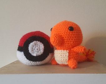 Amigurumi Crochet Pokeball & Charmander-Pokemon Set of 2