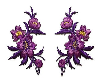 Violet/Purple Floral Patch, embroidery, iron on/sew on flowers appliques, 7 x 13 cm., set of 2, metallic gold, fabric crafts, gifts (F-202)
