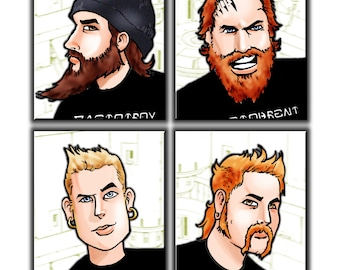 Mastodon - Cartoon Heads Art Print A3