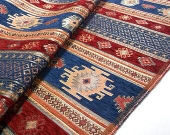SALE!!!5 Meters ,Chenille,Jacquard, Ethnic,Tribal ,Turkish,Ottoman Style Chenille Upholstery Fabric, Velvet Fabric,Kilim Fabric,Dark Blue