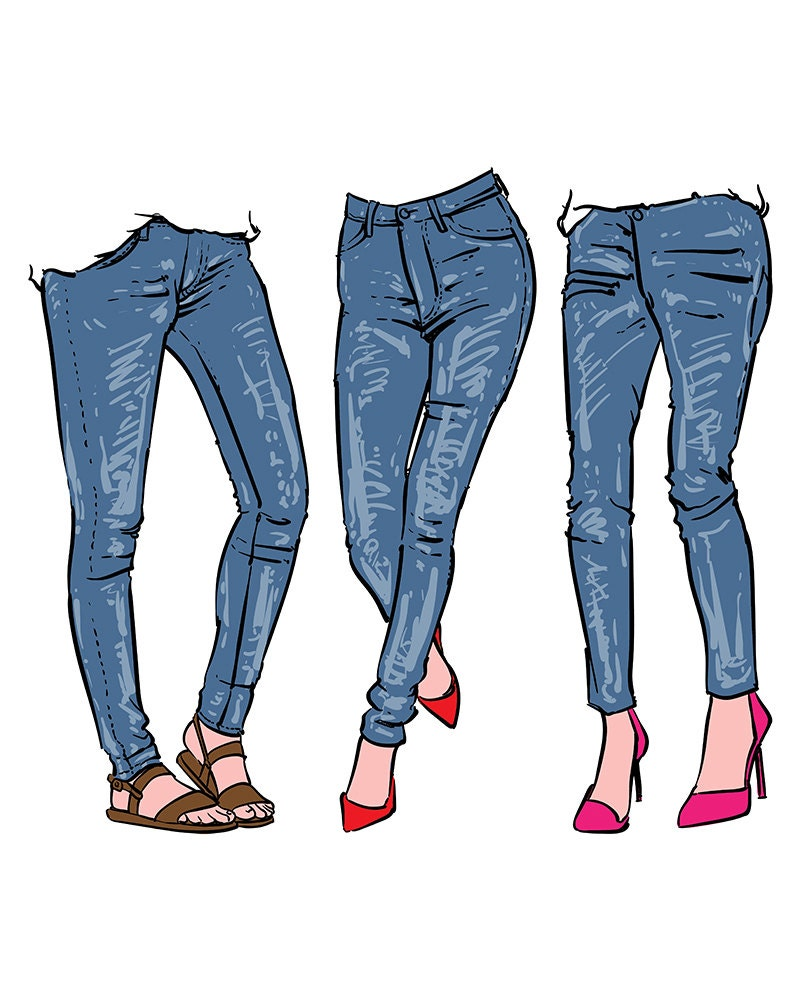 Hand drawn women's fashionable denim jeans. clipart - photo#1