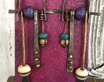 Long mixed metal earrings...forged steel..copper...Tibetan bone, ceramic, clay, glass beads..dangling..drops..rustic..hip..hippie..#202