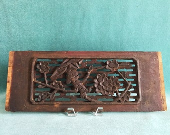 Four Antique Chinese Hand Carved Wood Panels//Intricate Bed/Cabinet/Window  Panels