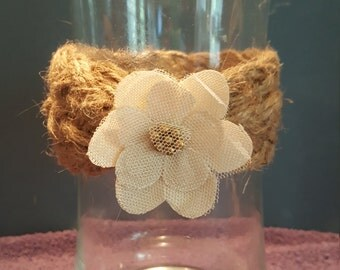 Vase with Burlap and Flower Adornment