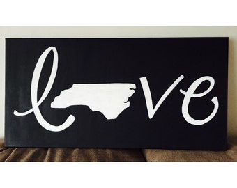 Personalized State or Country Love canvas
