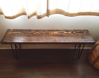 Solid Wood Modern Hairpin Bench