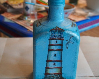 Bottle. Hand-painted, decoupage.