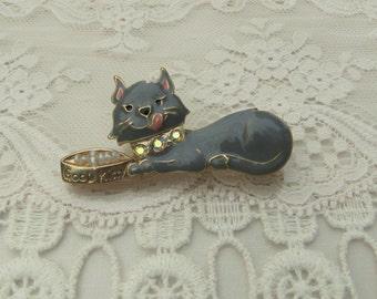 Hungry Kitty Rhinestone Pin