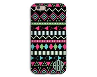Monogram iPhone 7 case, aztec iPhone 7 Plus case/6s plus case, tribal aztec pattern iPhone SE case, iPhone 6s case/6 case, 3D iPhone case