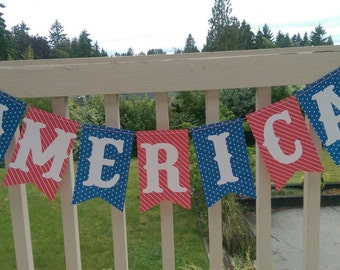 Stars and Stripes America Reversible Banner 4th of July Party Decorations