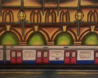 Notting Hill Gate Tube Station-Original Pastel Drawing