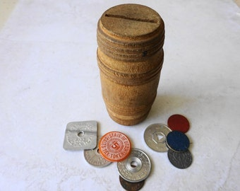 Vintage Wooden Barrel Bank with 9 ea. lot of Tax Token's from Seven States