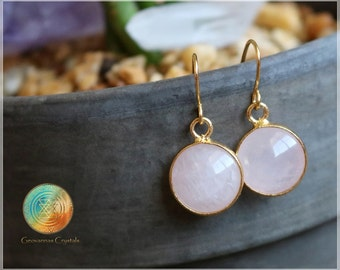 Rose Quartz Earrings,  18K Gold plated Earrings, Blush Pink Earrings, Rose Quartz Earring, Pastel Pink, Bridesmaids Earrings, Bridal Jewelry