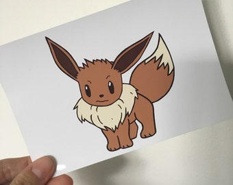 Eevee Illustration Print 6x4""