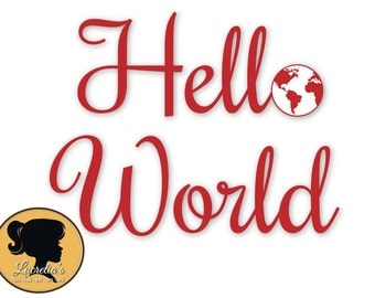Hello World SVG - Earth Silhouette SVG , Hello World Silhouette,  (zipped .eps .pdf .dxf .svg and .studio file) vector cutting files