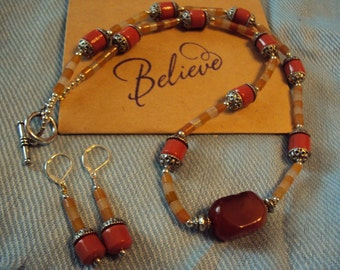 Orange Necklace and Earring set.