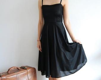 Vintage 50s Black Strappy Dress - UK 8