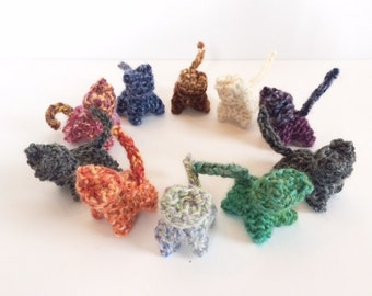 Hand Knit Kitten - Waldorf Toys - Farm Animals - Natural Toys  -Pretend Play Toy -Stocking Stuffers -Assorted Colors -Set of 3