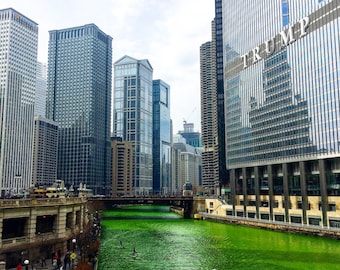 St. Patrick's Day, Green Chicago River, Trump Tower, Chicago Skyline, Cityscape, Chicago Photography, Chicago Wall Art, Chicago Prints