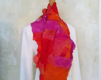 Colorful Nuno felted scarf/Cascheur/collar communication
