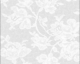 """Something Old Something New - Platinum/White lace  100% cotton Fabric by the yard 36""""x43"""" (C91)"""