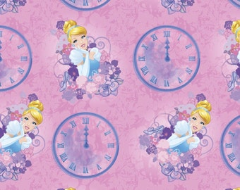 "Disney Fabric - disney Princess Cinderella fabric Clocks 100% cotton 44"" wide fabric by the yard (SC300)"