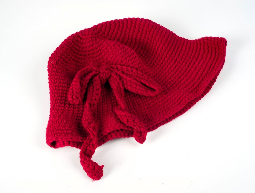 Red Hand Knit Hat Winter Woman Hat Hand Knit Hat Red Hat