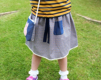 Girls cube print skirt and bag set, handmade stylish kids skirt made to order in UK