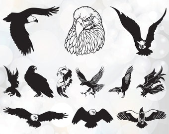 American Bald Eagle SVG file pack - Eagles SVG File - Cutting Template - Vector Clip Art for Commercial & Personal Use - Cutting Files