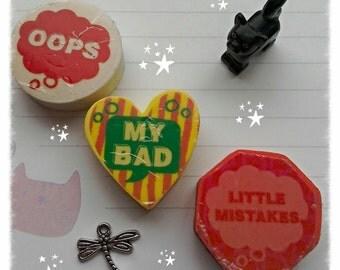 Erasers! Heart, circle, hexagon.