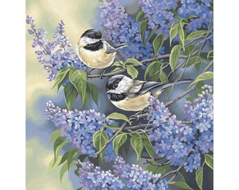 "Paint By Number Kit 11""X14"" - chickadees and lilacs"