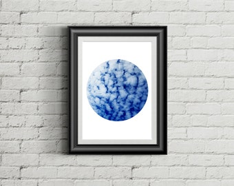 Blue Sky Circle Print A4
