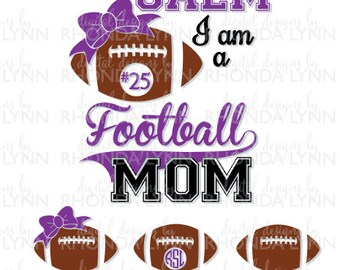 SALE! Football Mom SVG, dxf, eps, jpg, png vector cut file, Football SVG, Football Mom Frame, Football Digital Download, Football Graphic