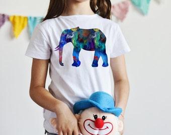 Elephant T-Shirt  - Animal Tee - Fashion T-shirt - White shirt - Printed shirt - Kids' T-shirt - Gift
