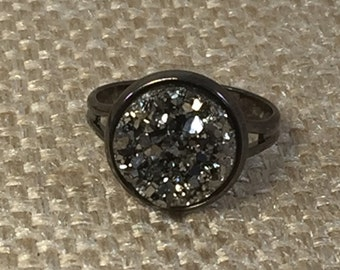 Adjustable Gunmetal Druzy Ring - Drusy -  Promise Ring - Statement Ring - Gunmetal  Drusy Jewelry - Druzy Jewelry - Trend - Boho Gift