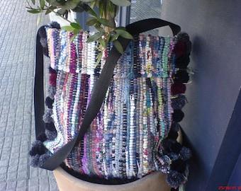 pom pom handmade rug bag,messanger bag ,boho bag summer bag kourelou,tagari bag