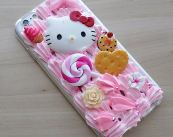 Pink Whipped Cream Hello Kitty Candy Rhinestone Deco iPhone 5/6/6 Plus Case