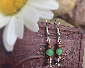Copper and green dangle flower earrings