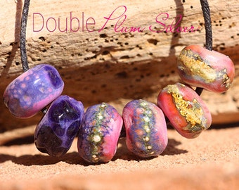 Double Plum Silver Organics glass lampwork beads handmade for Jewelry Design