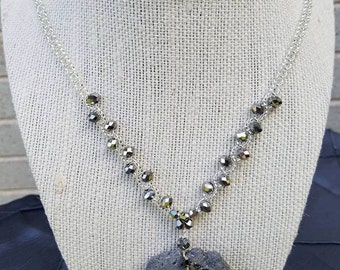 Gorgeous Gray Druzy Necklace