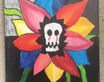 Skull flower canvas
