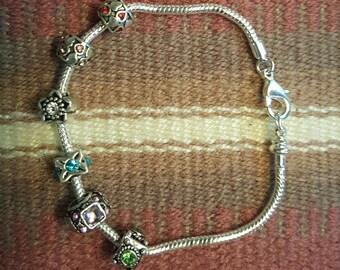 Silver jeweled bracelet