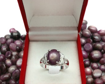 Ruby star silver ring
