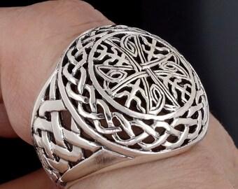 Celtic cross ring mens 925 sterling silver